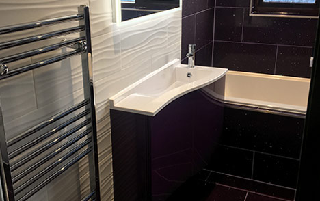 Family Bathroom - Purple Tiles